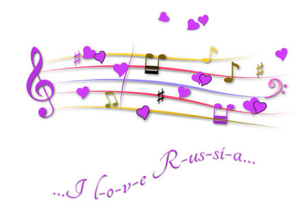 Musical score colored I love Russia