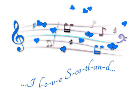 Musical score colored I love Scotland