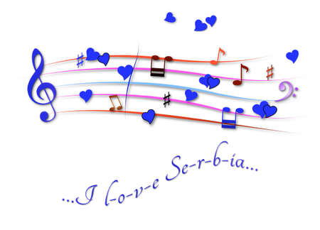 Musical score colored I love Serbia