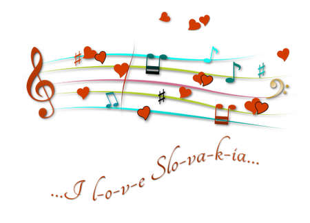 Musical score colored I love Slovakia