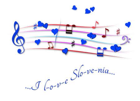 Musical score colored I love Slovenia Stock Photo