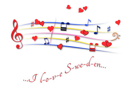 Musical score colored I love Sweden