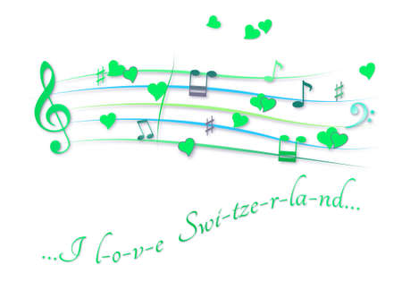 Musical score colored I love Switzerland