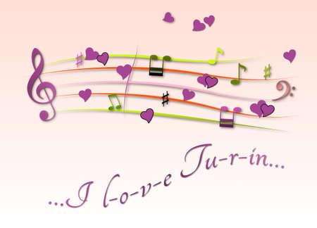 Musical score colored I love Turin Stock Photo