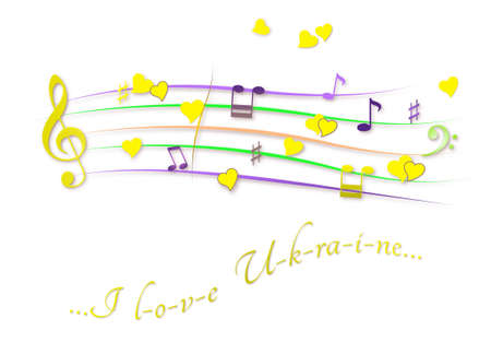 Musical score colored I love Ukraine