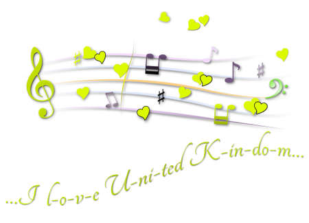 Musical score colored I love United Kingdom