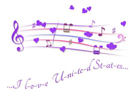 Musical score colored I love Unites States