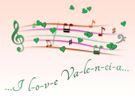 Musical score colored I love Velencia