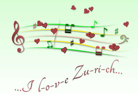 Musical score colored I love Zurich Stock Photo