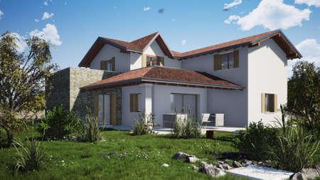 Residential building rendering external Imagens