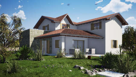 Residential building rendering external Stock Photo