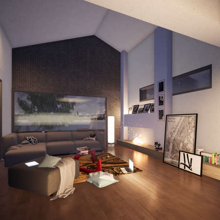 Residential building rendering interior