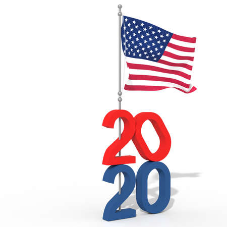 Year 2020 with USA flag