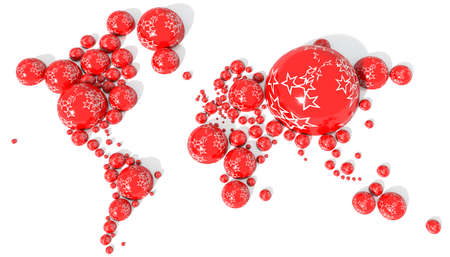 3D world in spheres with Christmas colors Foto de archivo
