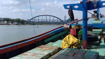 rivulet: a bridge from boat deck Stock Photo