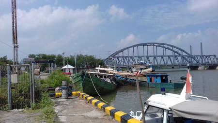 distric: Brondong Harbour in Sedayulawas village of Lamongan distric Indonesia Stock Photo