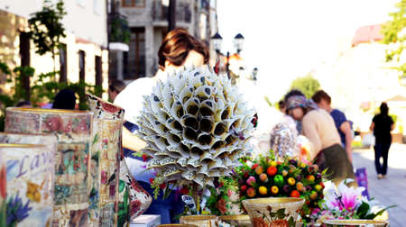 Money Tree. Handmade. Souvenirs and visual arts are sold at a street fair in Nalchik.