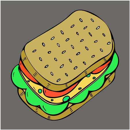 Vector illustration of sandwich with tomato and cheese, isolated on a gray background Foto de archivo - 138100260