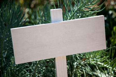 sign post: White wooden sign post in garden Stock Photo