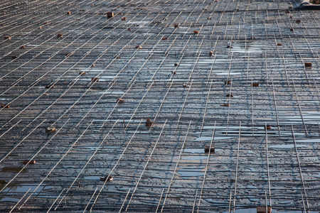 Reinforced wire mesh ready for concrete slab