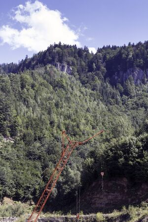 herbe ciel: Paysage sur le sommet de la montagne, de conif�res, ciel, l'herbe Banque d'images