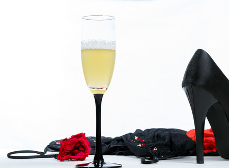 young underwear: Cocktails, champagne, sexy women lingerie and high hills on a white background Stock Photo