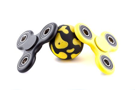 Anti stress and relaxation fidgets spinner for exhausted people Stock Photo