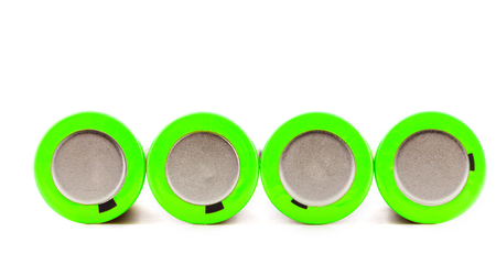 Used rechargeable batteries isolated on white background