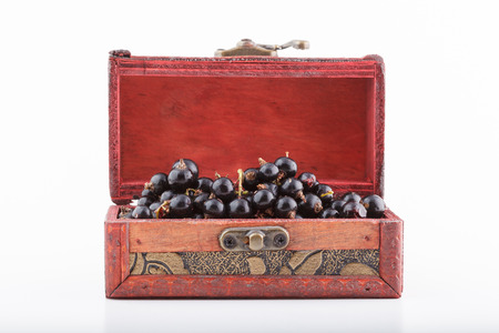fruitage: Black currant and berries stacked in a handmade wooden chest box, isolated on white background
