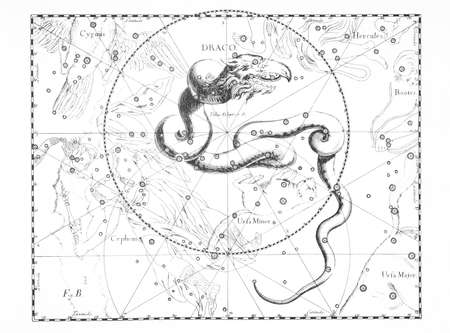astronomical constellation of the dragon on a light background 免版税图像
