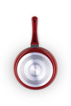 one frying pan of red color on a white background closeup