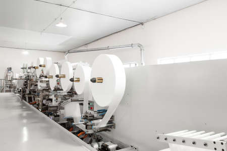 Industrial factory plant for the production of paper packaging 스톡 콘텐츠