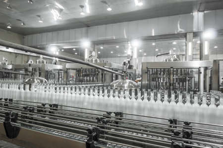 conveyer: factory shop for the production of glass bottles and beverage