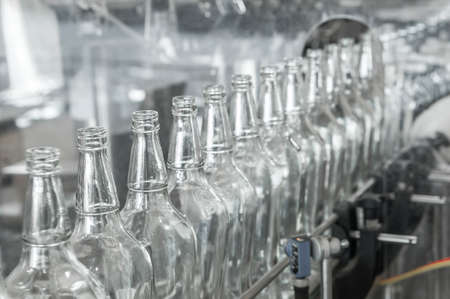 conveyors: factory shop for the production of glass bottles and beverage
