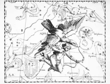 흰색 배경에 독수리의 천문학 별자리 스톡 콘텐츠