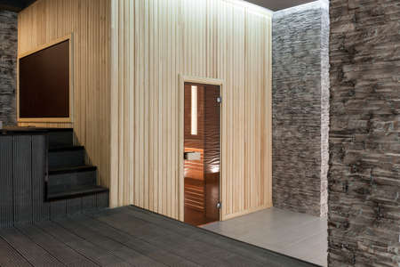 lath in modern: modern interior room spa complex and the sauna and massage Stock Photo