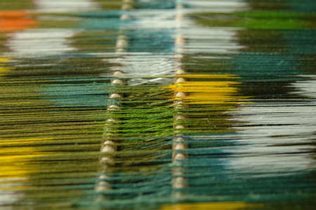 subtle silk weaving thread and yarn closeup