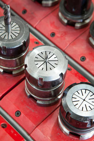 automated tooling: set of drills for industrial machine Stock Photo