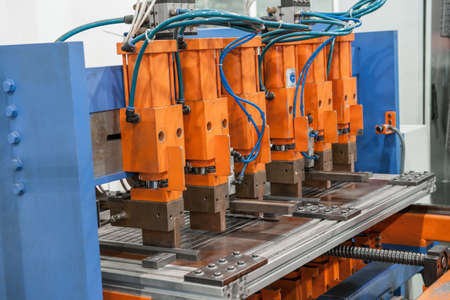 Industrial welding machines in the workshop, in the process of work and movement