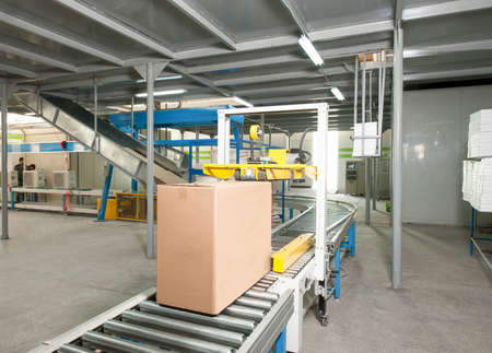 packed electrical engineering cardboard boxes on a conveyor belt in factory