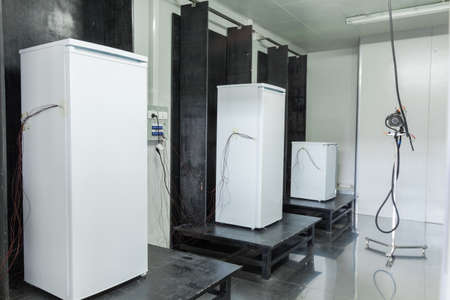 icebox: at the factory final inspection  of refrigerators