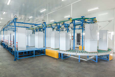 at the factory final inspection  of refrigerators on the conveyor belt   Stockfoto