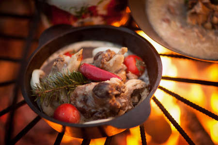 cook a meat dish with spruce branches at the stake Stock Photo
