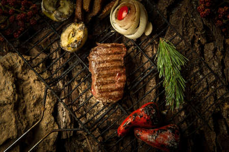 tomate de arbol: piece fried meat with berries on the grill on a background of tree bark