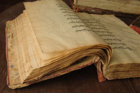 ancient open book in arabic. old arabic manuscripts