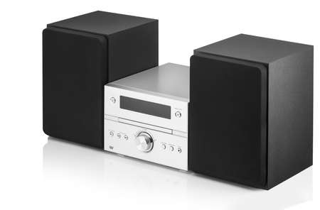music center with two speakers on a white background Stockfoto
