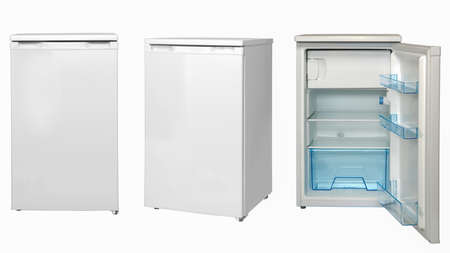 small refrigerators, open and closed on a white background