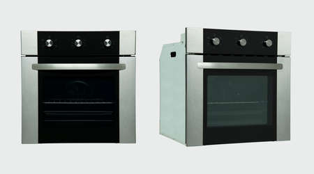 a modern kitchen oven in two positions on a white background Stock Photo