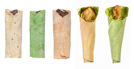 assortment and variety of pita bread on a white background isolated Stock Photo