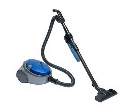 modern household vacuum cleaner blue on a white background